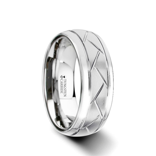 THORSTEN - OCTAVIAN Domed Tungsten Carbide Ring with Crisscross Grooves and Brushed Finish