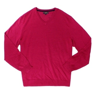 Club Room NEW Pink Berry Glaze Mens Size 2XL V-Neck Merino Wool Sweater