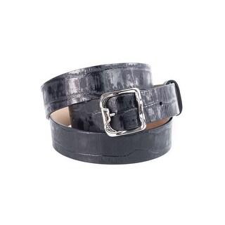 Roberto Cavalli Women's Black Croc Embossed Leather Belt