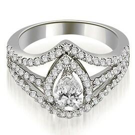 1.15 cttw. 14K White Gold Halo Pear Cut Diamond Engagement Diamond Ring