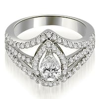 1.40 cttw. 14K White Gold Halo Pear Cut Diamond Engagement Diamond Ring