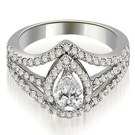 1.40 cttw. 14K White Gold Halo Pear Cut Diamond Engagement Diamond Ring