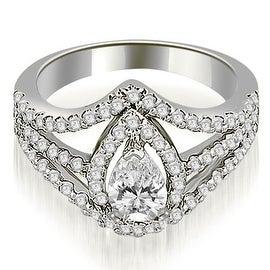 1.65 cttw. 14K White Gold Halo Pear Cut Diamond Engagement Diamond Ring