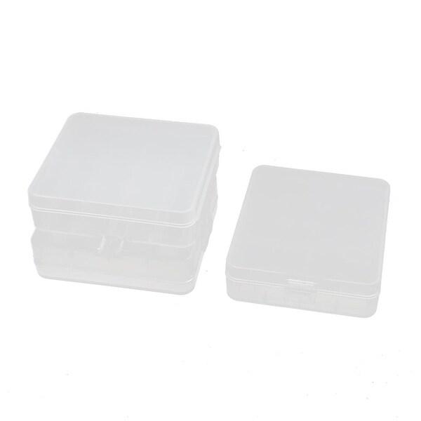 3Pcs 80mmx72mmx23mm Transparent Storage Case Hard Plastic Battery Organizer
