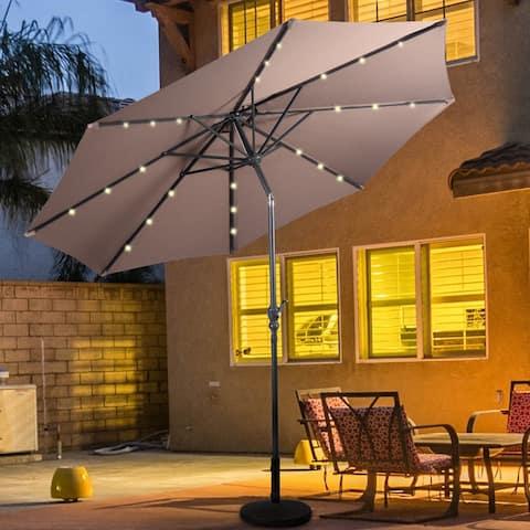 Costway 10ft Patio Solar Umbrella LED Patio Market Steel Tilt w/ Crank - 10 ft