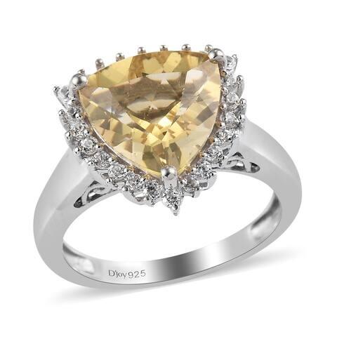 Platinum Over 925 Silver Labradorite Zircon Halo Ring Size 6 Ct 3.1