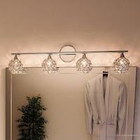 "Luxury Crystal Globe LED Bathroom Vanity Light, 8""H x 32.5""W, with Modern Style, Polished Chrome Finish"