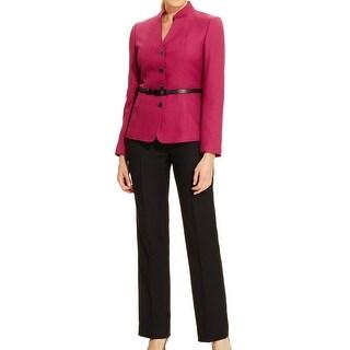 Tahari By ASL NEW Purple Women's Size 14 Belted Herringbone Pant Suit