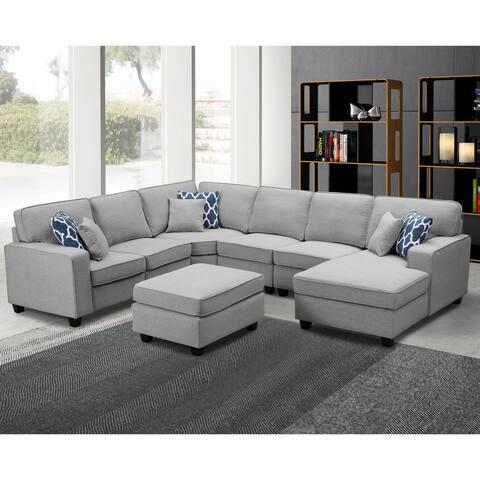 Copper Grove Vigneux 7-piece Light Grey Linen Sectional Chaise