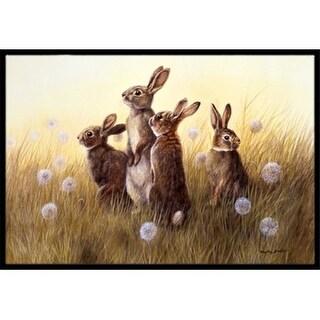 Carolines Treasures BDBA0144MAT Rabbits in the Dandelions Indoor or Outdoor Mat 18 x 27