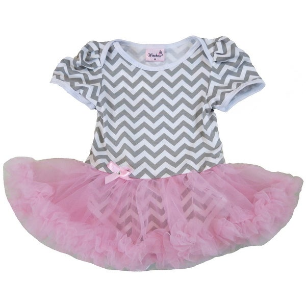 Wenchoice Baby Girls Gray Pink Chevron Tutu Bodysuit