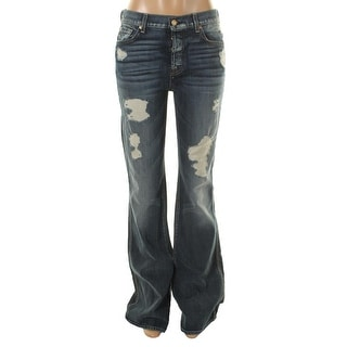 7 For All Mankind Womens Distressed High Waist Bootcut Jeans