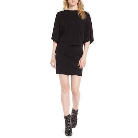 KENDALL + KYLIE Ruched Tee Dress, Black, XS