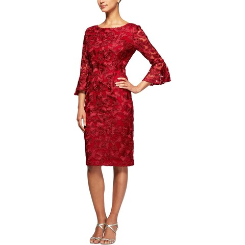 Alex Evenings Womens Party Dress Embroidered Bell-Sleeves