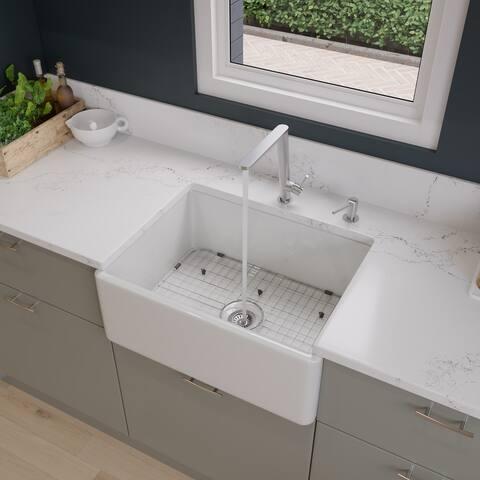 Alfi White Smooth Fireclay 26-inch Farmhouse Kitchen Sink