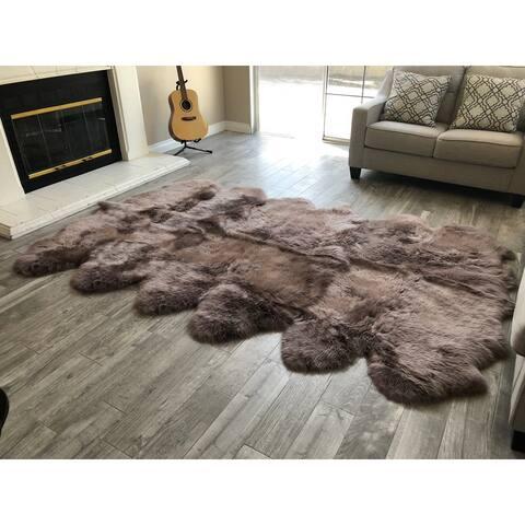 """Dynasty 12-Pelt Luxury Long Wool Sheepskin Paco Brown Shag Rug - 5'5"""" x 9'2"""""""