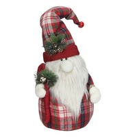 "19.25"" Red Plaid Sitting Santa Gnome with Candy Cane Plush Table Top Christmas Figure"