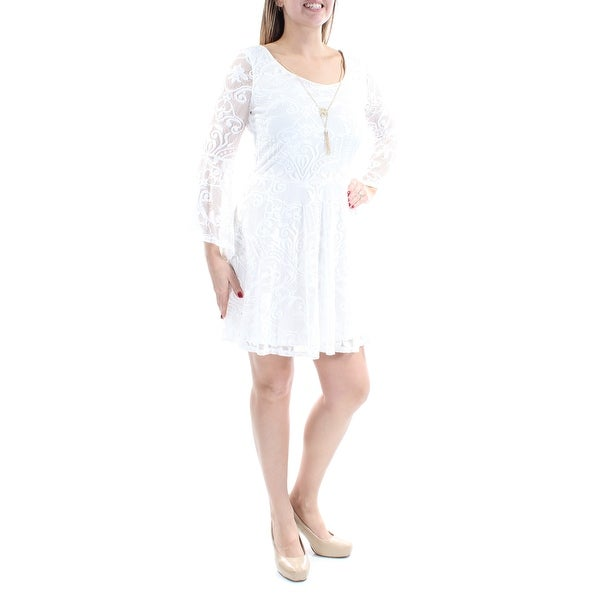 6c00dede5d1 Shop BCX Womens Ivory Lace W  Necklace Bell Sleeve Scoop Neck Above The  Knee Fit + Flare Dress Juniors Size  13 - On Sale - Free Shipping On Orders  Over  45 ...