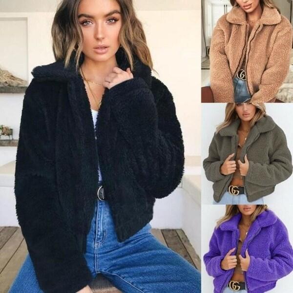 cd1873ff5d5 Women's Coat Casual Lapel Fleece Fuzzy Faux Shearling Zipper Warm  Winter Oversized