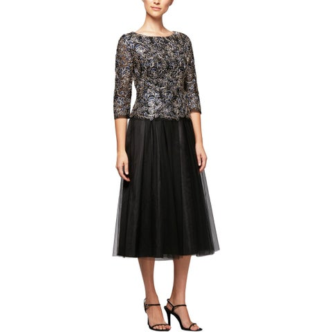 Alex Evenings Womens Petites Special Occasion Dress Mother of the Bride Midi