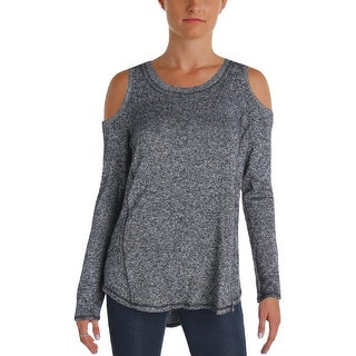 Aqua Womens Crewneck Sweater Cashmere Open Shoulder