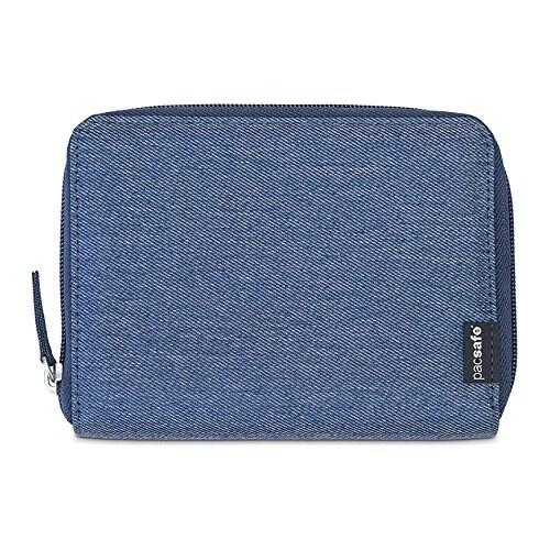 Pacsafe RFIDsafe LX150-Denim RFID Blocking Zippered Passport Wallet w/ Note Slot