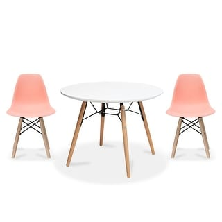 Overstock 2xhome Modern Accent Kids Toddler Children Side Armless Chair and Round Table Combo with Eiffel Natural Wooden Legs for Dining (Pink)