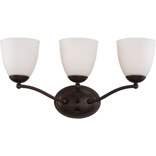 Nuvo Lighting 60/5153 Patton ES Three-Light Bathroom Fixture with Frosted Glass Shades