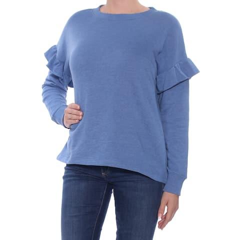 BUFFALO Womens Blue Ruffled Long Sleeve Crew Neck Top Size: XL