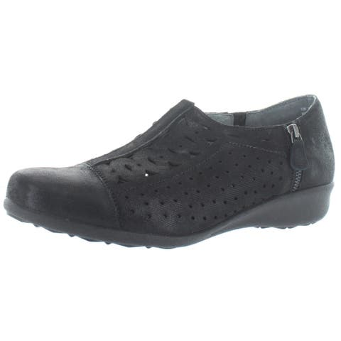 Drew Womens Metro Casual Shoes Leather Zip-On - Black - 12 Narrow (AA,N)