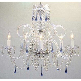 Swarovski Elements Crystal Trimmed Chandelier! Blue Crystal Chandelier Chandeliers - Clear