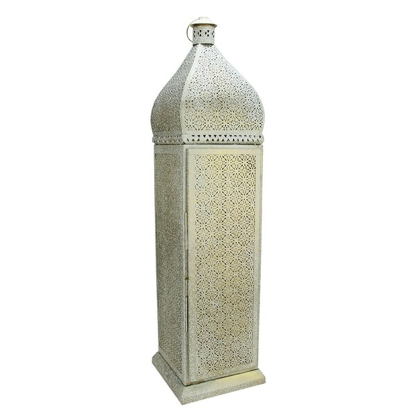 "33.25"" Distressed White and Gold Antique Style Moroccan Cut-Out Lantern Floor Lamp"