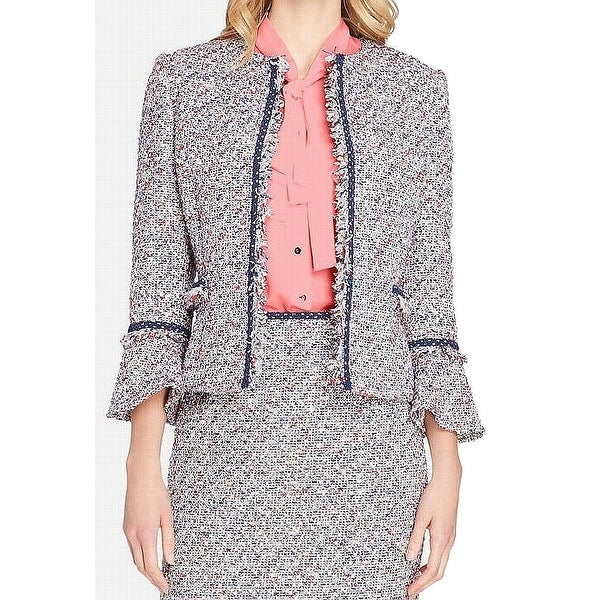 Tahari by ASL Blue Womens Size 4 Tweed Open Front Shimmer Jacket