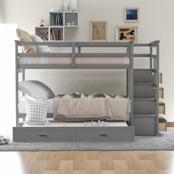 Harper & Bright Designs Twin over Twin Bunk Bed with Trundle and Staircase. Opens flyout.