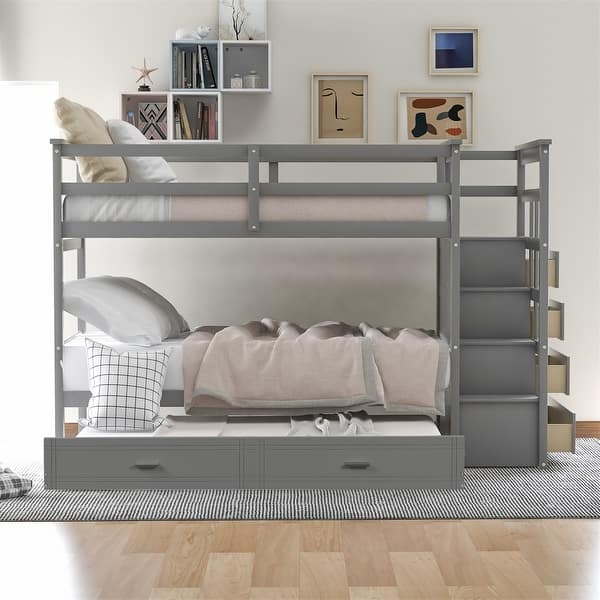Harper Bright Designs Twin Over Twin Bunk Bed With Trundle And Staircase Overstock 32221298