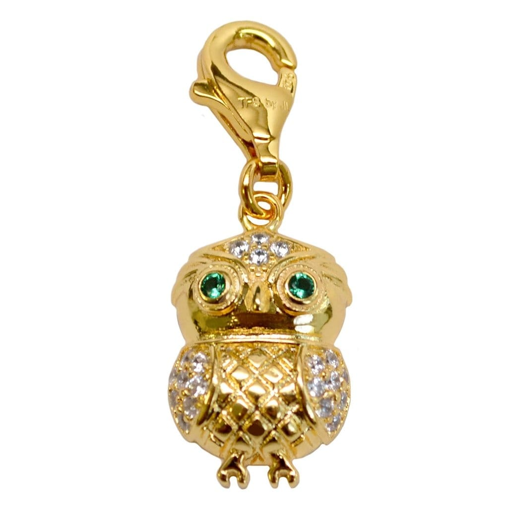 Julieta Jewelry Owl Gold Sterling Silver Charm - Thumbnail 0