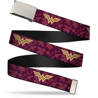 Blank Chrome Buckle Wonder Woman Logo Floral Collage Purple Pinks Gold Web Belt