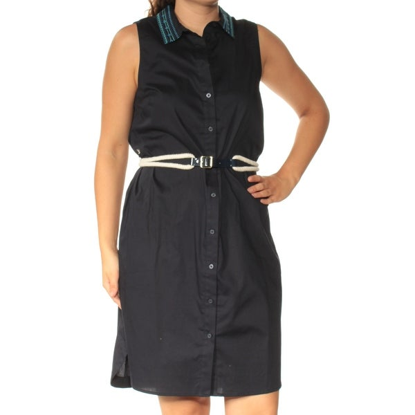 fe7b0a01728 TOMMY HILFIGER Womens Navy Belted Sleeveless Collared Above The Knee Shirt  Dress Dress Size: 10
