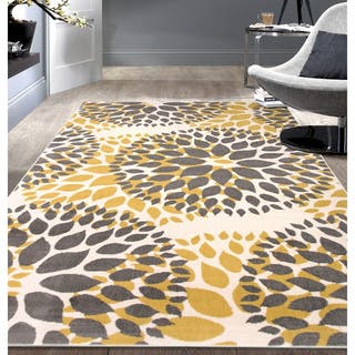 Modern Floral Circles Area Rug