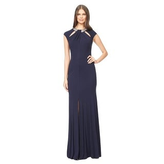 David Meister Embellished Cutout Jersey Evening Gown Dress