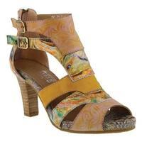 L'Artiste by Spring Step Women's Brooke Open Toe Bootie Yellow Multi Leather