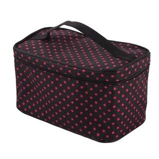 Travel Lady Polyester Dots Pattern Zipper Closure Cosmetics Makeup Handbag
