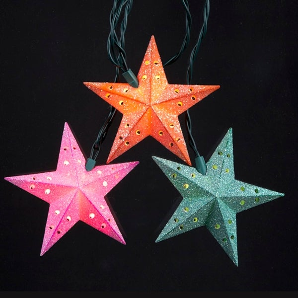 set of 10 glittered multi color star novelty christmas lights green wire