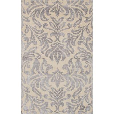 "ECARPETGALLERY Hand-knotted La Seda Cream, Grey Silk, Wool Rug - 4'10"" x 7'11"""