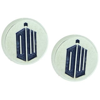 Doctor Who EXCLUSIVE DW Logo Enamel Round Stud Earrings - Silver