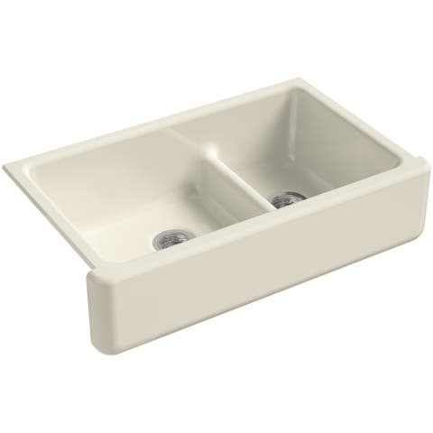 "Kohler K-6427 Whitehaven 36"" Farmhouse Undermount Self-Trimming Double Basin Apron Front Cast Iron Kitchen Sink with Smart"