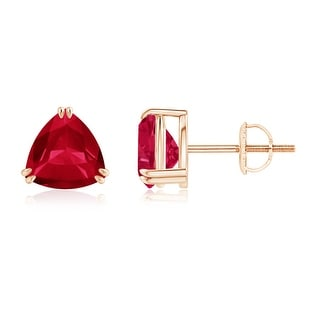 Angara Classic Solitaire Trillion Cut Ruby Stud Earrings