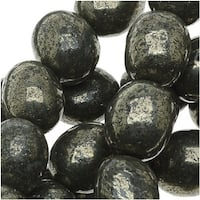 Pyrite Fool's Gold 8x9mm Puff Oval Beads (16 Inch Strand)
