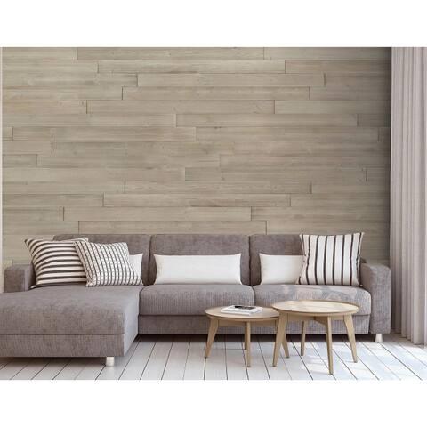 "HighlanderHome Peel & Stick Solid Wood Wall Panel,5"" x 48""/pc - 1Box"