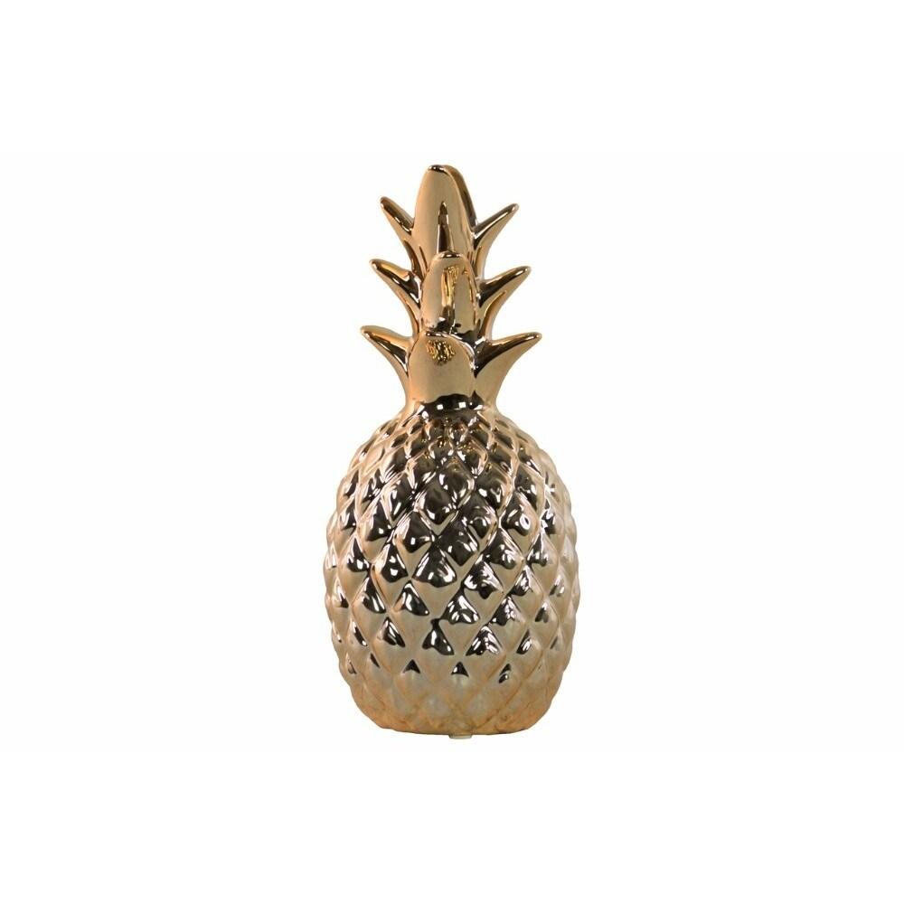Ceramic Pineapple Figurine,  Gold